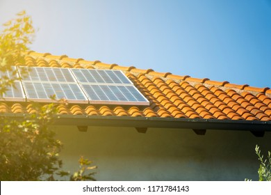 Solar panels on the roof, alternative electricity.