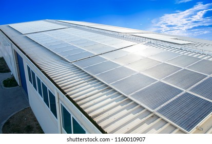 Solar panels on the roof of the building