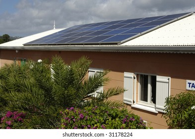 solar panels on a roof of a building