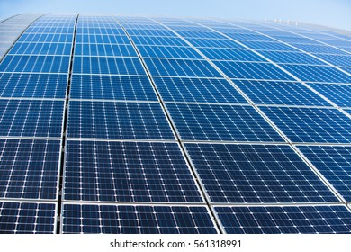 Solar panels on the roof of the building, alternative sources of electricity, advanced technology