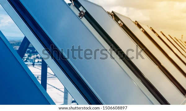 Solar panels on a roof, close up