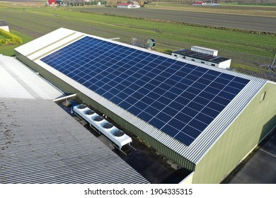 Solar panels on a roof of a company colored blue by sunlight. Solar panels are a cheap and sustainable way to get energy from sunlight. Photo taken with a flying drone