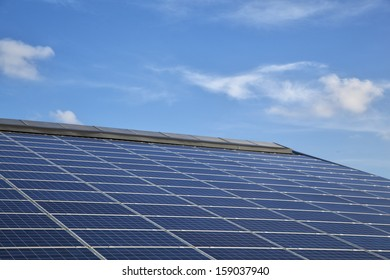 Solar panels on a roof of a farm building in Schleswig-Holstein, Germany