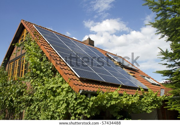 Solar Panels For Your Home >> Solar Panels On Roof Home Stock Photo Edit Now 57434488