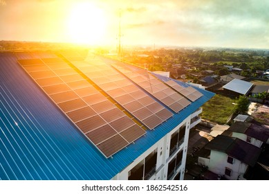 Solar panels on the roof of a hospital building