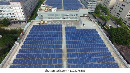 solar panels on the roof of modern building.