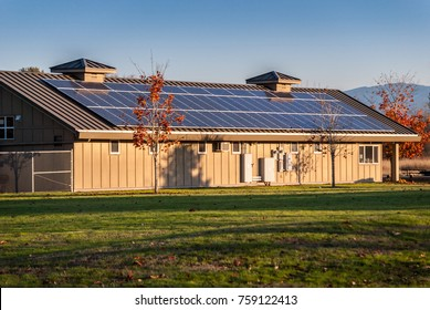 Solar Panels on Roof of North Utility Building at Marymoor Park. The park is located in Redmond Washington. Photo was taken November 6, 2017.