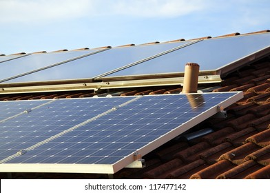 Solar panels on the roof of a private house