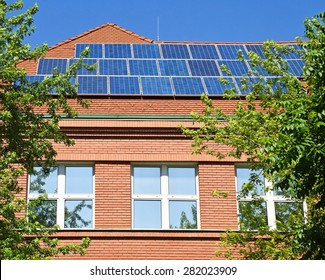 Solar panels on the roof of the school building