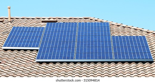 Solar panels on the roof of a suburban home in Southern California's Orange County.