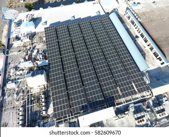 Solar Panels on roof of Supermarket Mall Business in the Caribbean - Aerial View - 19 Feb, 2017