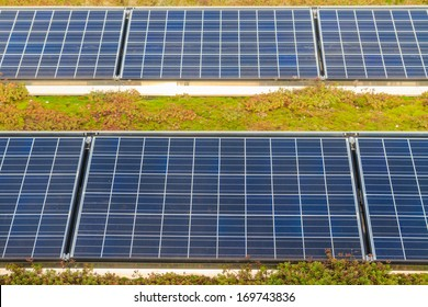 Solar panels on roof (with green garden)
