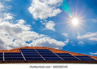 Solar panels on the roof,energy of natural ,Solar cells energy is a renewable energy source electrical energy.