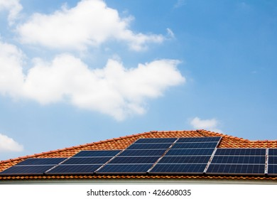 Solar panels on the roof,power of sun,natural energy.