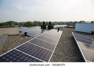 Solar panels on a rooftop.