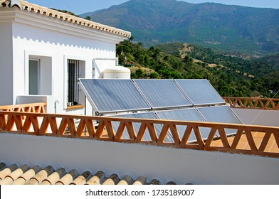 Solar panels on a rooftop terrace, Benahavis, Costa del Sol, Malaga Province, Andalucia, Spain, Europe.