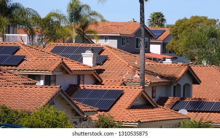 Solar panels on rooftops in California, an increasingly common sight