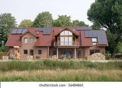 Solar panels on rural residence