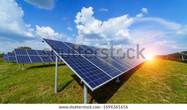 Solar panels on the sky background. Solar power plant. Blue solar panels. Alternative source of electricity. Solar farm.