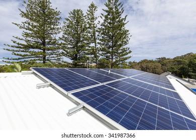 Solar panels on suburban home roof