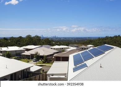 Solar panels on suburban home