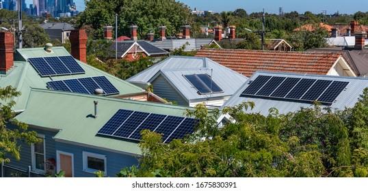Solar panels on suburban house roofs in Melbourne, Australia