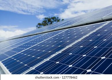 Solar panels on sunny roof