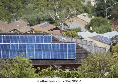Solar panels on the tiled roof of Australian home