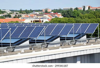 Solar panels on the top of a building
