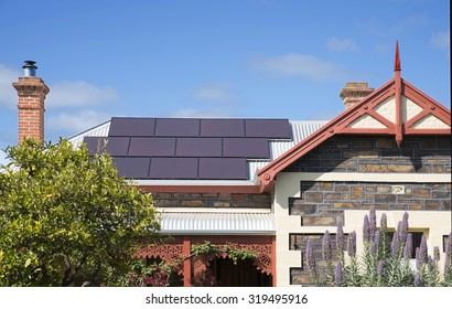 Solar panels on top of an a heritage home