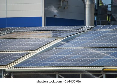 solar panels on top of industrial roof object
