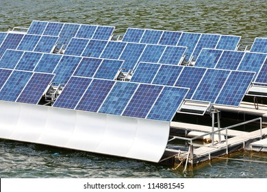 Solar panels  on the water.