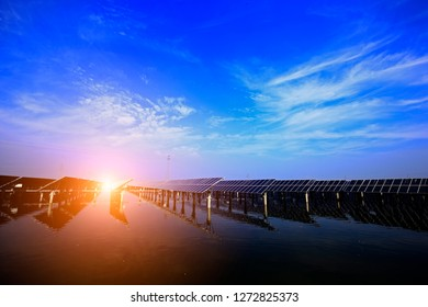 Solar panels on the water