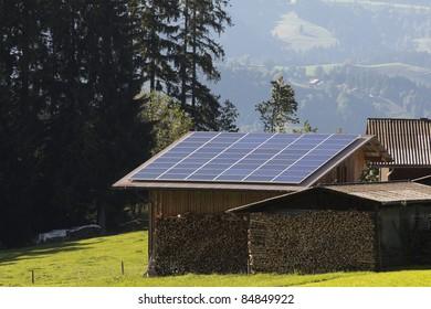 Solar panels on wood house