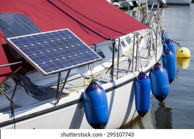 Solar panels on the yacht