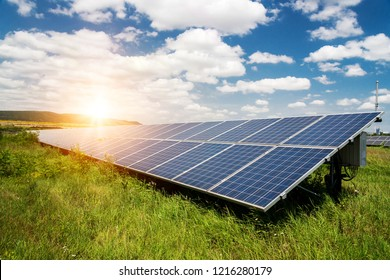Solar panels, photovoltaic - alternative electricity source - selective focus, copy space