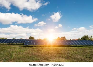 Solar panels, photovoltaic - alternative electricity source - selective focus, copy space