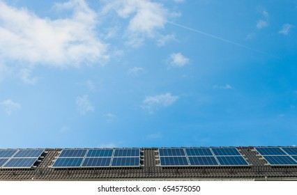 Solar panels or Photovoltaic cell on the roof turn solar energy in to electricity  .