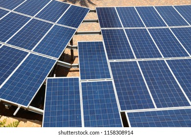 Solar panels - photovoltaic electricity cells installation in Apulia, Italy.