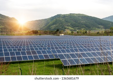 Solar panels, photovoltaics, alternative electricity source. View of a solar station at the foothills of a mountain - concept of sustainable resources