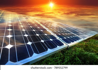 Solar panels, photovoltaics - alternative electricity source - selective focus, copy space
