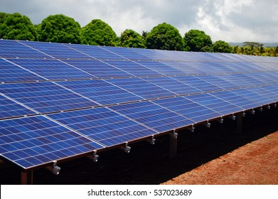 Solar Panels Power a Large Plantation near Honolulu Hawaii