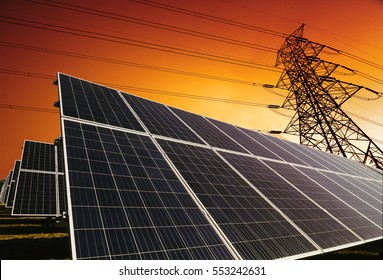 Solar panels with power line background