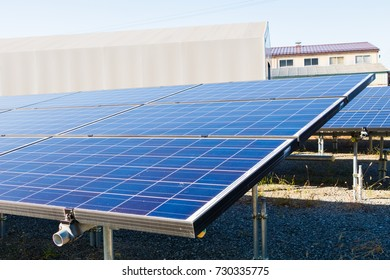 solar panels , solar  power plant  ,Photovoltaic modules for innovation green energy for life with blue sky background.