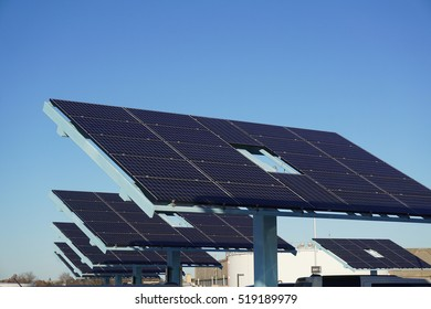 solar panels in a row in solar power station