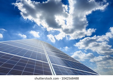 Solar panels and sky background,green energy concept