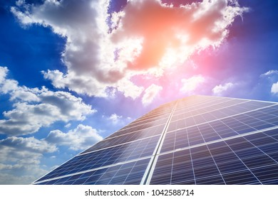 solar panels and sky landscape at sunset,green energy concept