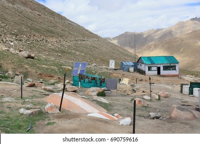 Solar panels standing on soldier camp,North India