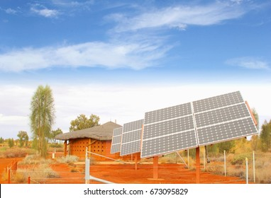 Solar panels, sun energy and electricity generation in desert, Africa. Investment project to reduce greenhouse gas emissions
