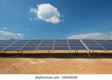 Solar panels for sun energy in landscape